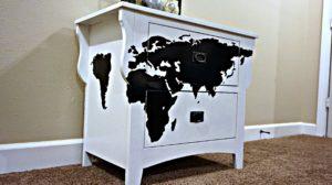 DIY World Map Nightstand
